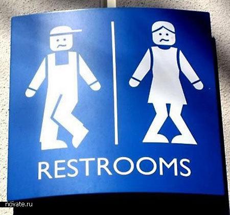 Туалетная  вывеска в Леголенде в Голландии