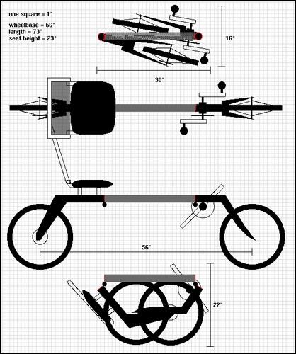 Гарвардские наброски складного велосипеда.