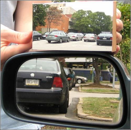 Зеркало заднего вида с увеличенным углом обзора.