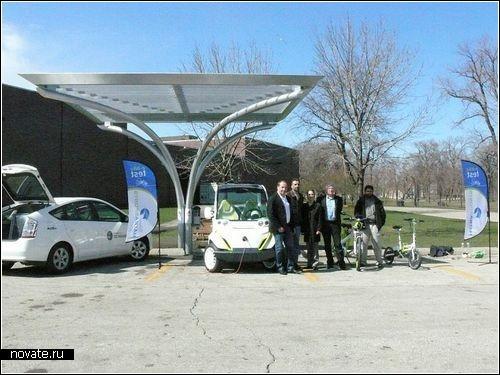 Солнечная заправка для электромобилей в Чикаго.