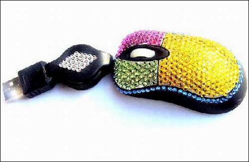 Разноцветная мышка с кристаллами Swarovski.