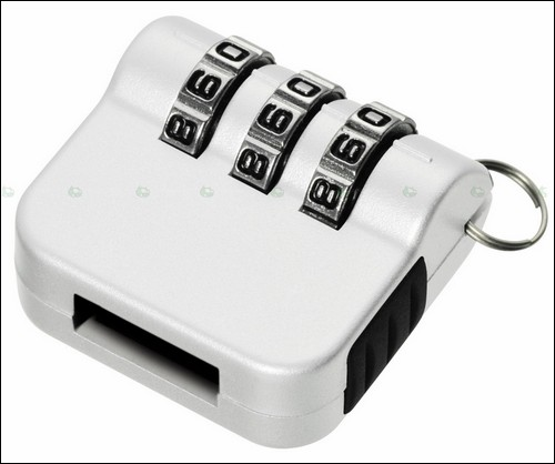 Кодовый механический замок для USB-накопителя - белый.