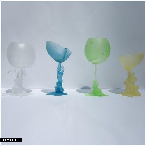 Оплавившиеся бокалы для вина из коллекции Kaarsrecht Glas