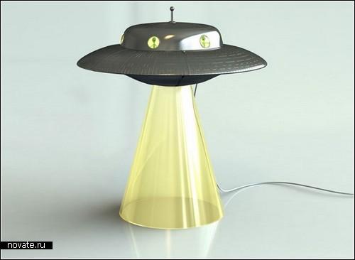 Инопланетная лампа-похитительница коров. Alien Abduction Lamp от дизайнера Лассе Кляйна (Lasse Klein)