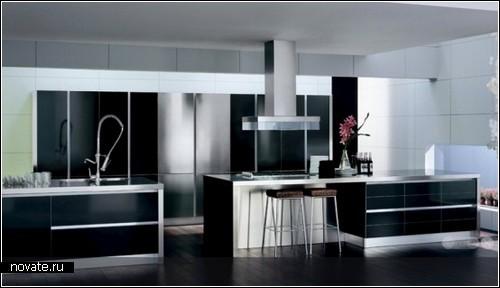 Стильные черно-белые дизайнерские кухни. Обзор