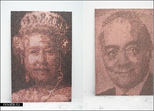 Денежный креатив. Портреты из монет в однин пенни