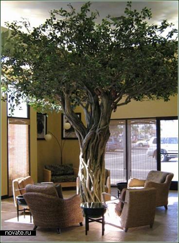 Большое искусственное дерево для интерьера своими руками