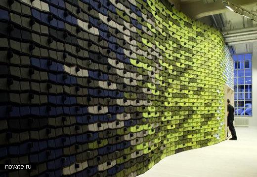 Текстильные чешуйки* для стен.  Дизайнеры Ronan & Erwan Bouroullec.