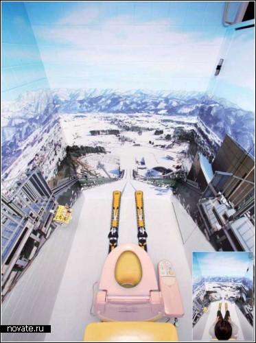 Лыжный дизайн туалетных кабинок