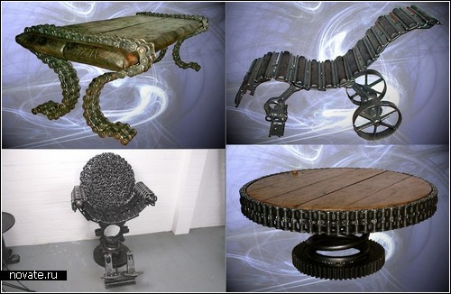 Мебель-скульптуры из кожи и металла