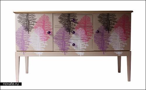 Винтажная мебель, оклеенная обоями. Дизайн Bryonie Porter