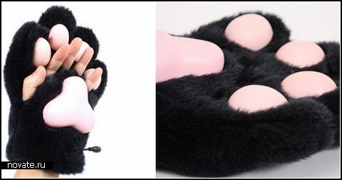 перчатки лапы кота купить
