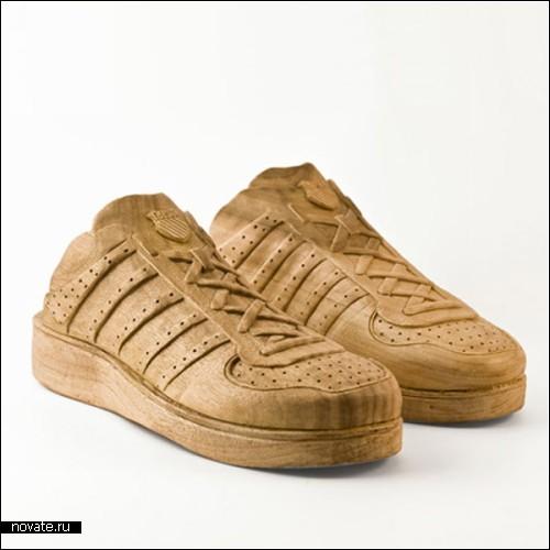 Деревянные кроссовки для швейцарской компании K-Swiss