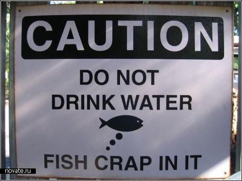 Не пейте воду! Рыбки туда какают...