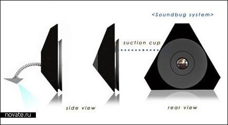 Портативный динамик с сенсорной клавиатурой и проектором