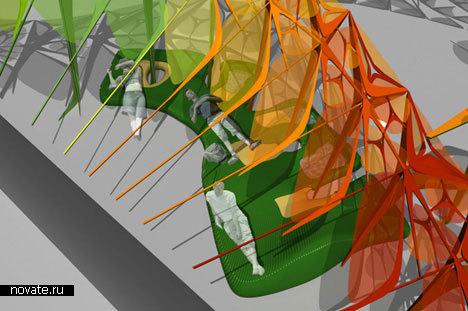 Гигантская разноцветная скамейка