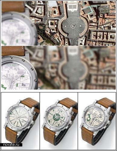 Часы с циферблатами-картами от Itay Noy