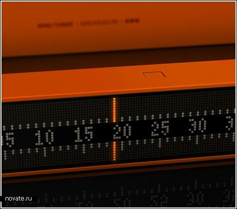 Часы в виде старомодного FM-тюнера