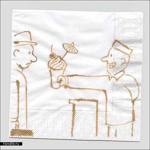 История любви к кофе на салфетках