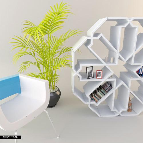 Книжный шкаф в форме снежинки