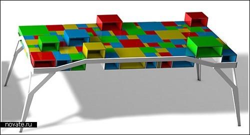 Стол из разноцветных кубиков-ящиков от Matthis Pugin