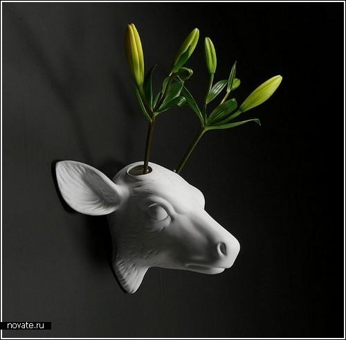 Оленья вазочка с цветами-рогами