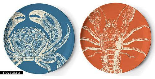 Тарелки с изображением морепродуктов