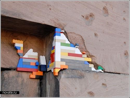 Стены города из кубиков Лего