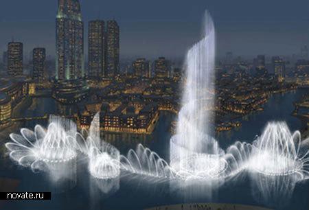 Самый большой фонтан.  Дубаи - город, знаменитый помимо всего прочего своими масштабными архитектурными проектами...