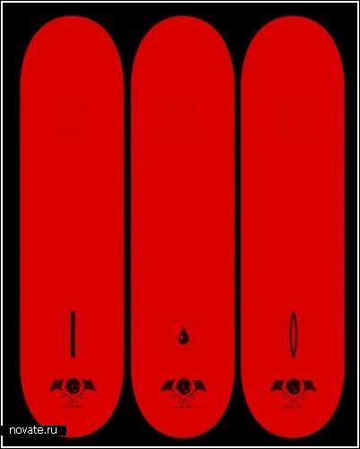 «Нагие» скейты с портретами изгнанных из Рая - вид сверху доски