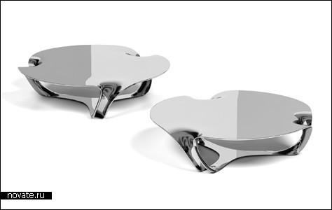 Почти зеркальный стол из алюминия
