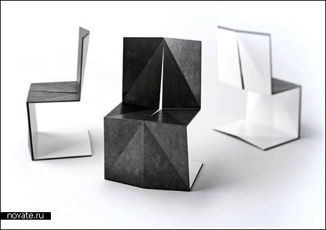 Я мастер по Оригами и сделал эти стулья из больших листов бумаги - так может смело говорить владелец таких...