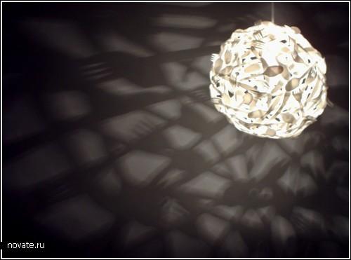 Лампа из столовых приборов