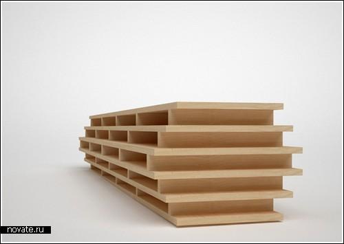 Горизонтальный книжный шкаф