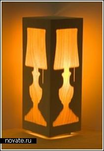 Лампа в деревянном бруске