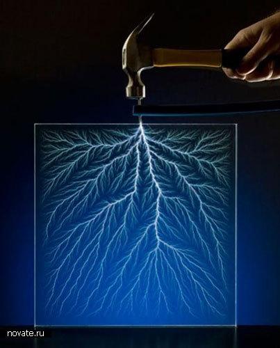Молния в стеклянном кубе