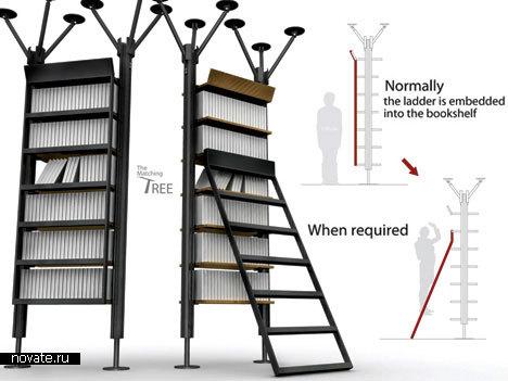 Полки для книг со стремянкой