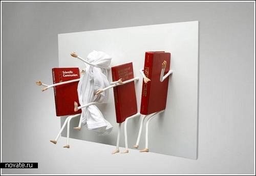 Книжная полка с ручками и ножками