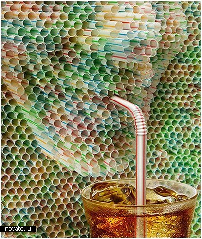 Реклама чая с использованием соломинок