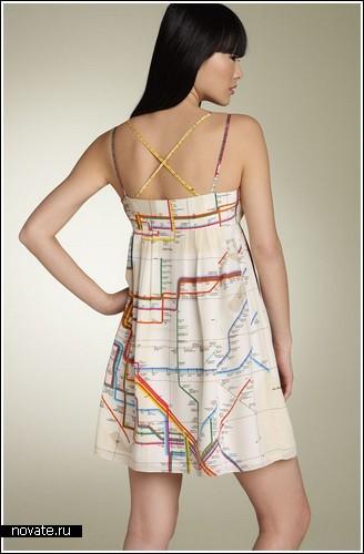 Платье с картой метрополитена Нью-Йорка
