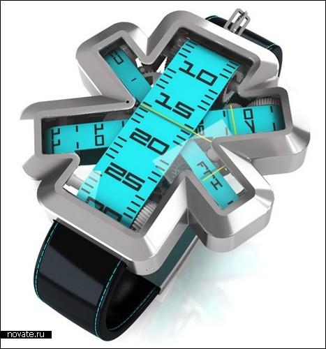 Часы, у которых вместо стрелок – ленты из рулетки