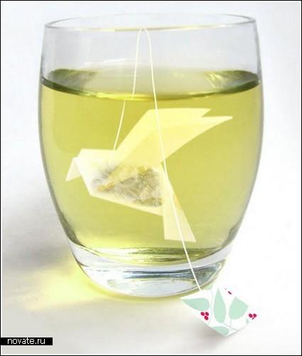Птичка-оригами из чайного пакетика