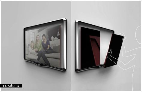 Телевизор этот будет состоять из двух частей которые можно отделять друг от друга Media hosting.