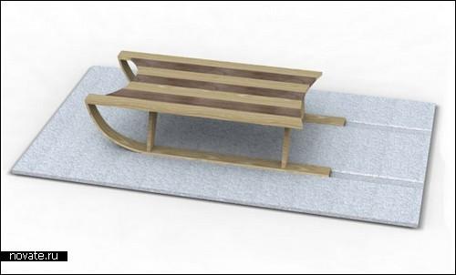 Стол-санки на снежном коврике