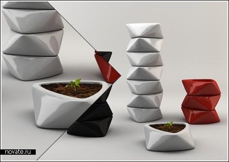 Контейнер + стол + цветочный горшок