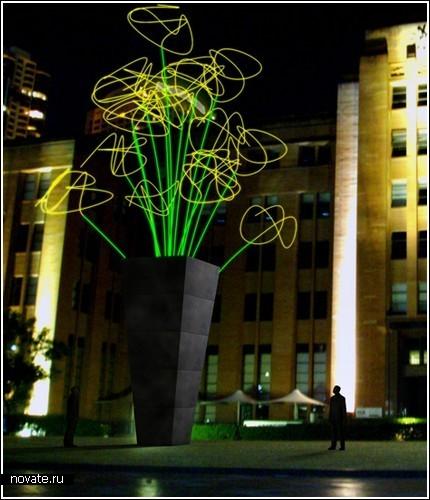 Гигантская ваза со светящимися цветами в Сиднее