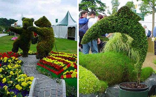 Зеленые скульптуры топиари