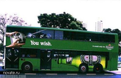 Реклама Heineken на автобусе