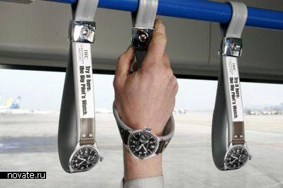Реклама IWC Watches в салоне общественного транспорта