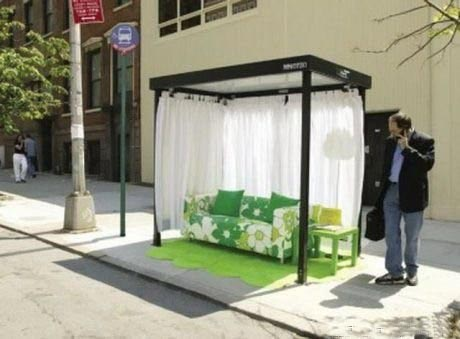 Оригинальная автобусная остановка в Нью-Йорке